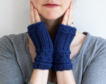 Knitted Wool Fingerless Mittens in Dark Blue, Willow Mittens (A02)