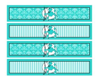 Aqua Paris Theme Water Bottle labels Printable -Instant Download Digital