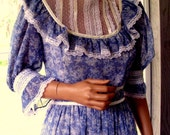 Gunne Sax Dress  a Victorian Style Composition in Delft Blue