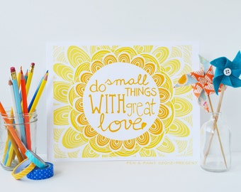 Yellow, Graduation Gift, Sunshine, Ombre, Mother Teresa, Do Small Things With Great Love, Inspiration, Inspiring Quote Teacher Gift