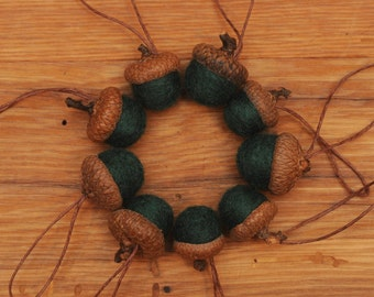 Pine Green Felted Acorn Ornaments, also available without hangers