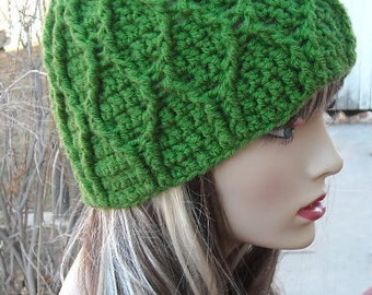 CROCHET PATTERN PDF , Crocheted Green Smurf Hat - Cabled Beanie, Advanced crochet pattern, CaN sell finished items, instant download