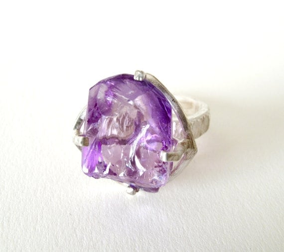 Amethyst Ring Sterling Silver Ring With Natural Raw Amethyst and Rock Crystal Violet Jewelry Lavender Jewelry Quartz Ring