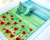 Butterfly in a poppy field  - Spring or Summer card - handmade card - 4.25 x 5.5 inches - Birthday card