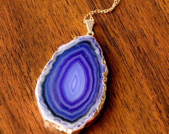 Quarry Necklace // Royal Purple Agate Slice Pendant on 14k Gold Filled