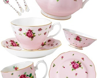 Victorian Tea Cups Pink Rose Set  - A4 Digital Collage Sheet - For unlimited number of prints