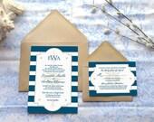 Newport Compass Rose Nautical Wedding Invitations - Beach Wedding - Sailing Wedding - Ocean Wedding - Boat Wedding - Nautical Stripes