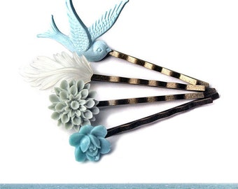 Hair Accessories, Ocean Beach Bobby Pins, Flower and Bird Bobbies
