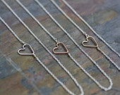 Sideways Heart necklace, Dainty Necklace, Mixed Metals, Heart, Tiny Necklace, Sterling Silver, Free Shipping, Delicate, Dainty, Necklace