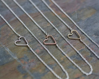 sideways heart necklace, silver gold heart necklace, delicate necklace dainty necklace, small layering necklace, mixed metals heart, N183