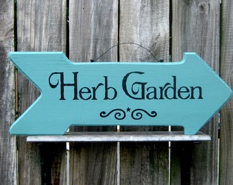herb garden sign arrow sign herbs gardening garden painted wood