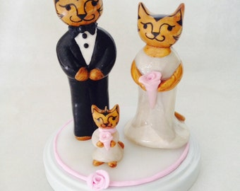 Tabby Cat Wedding Cake Topper with Flower girl and repurposed jar lid stand.
