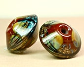 sale beads special lampwork earring beads pair organic beads with metals rustic beads new Paubead