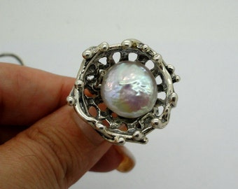 New Israel Unique Hand made Sterling Silver Pearl Ring (s r2084)