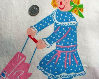 Vintage Cotton Novelty Fabric   - Adorable Baby Nursery Juvenile - DARLING Dolls Playing - 41 x 44