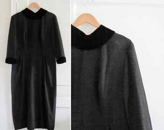 Vintage 50s Plus Size Tall Black Sheath Dress