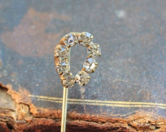 Victorian French Paste Horseshoe Stick Pin / Lucky Horseshoe