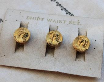Antique Art Nouveau Cameo Stud / Shirt Waist Stud Set on Original Card / New Old Stock Shirt Buttons