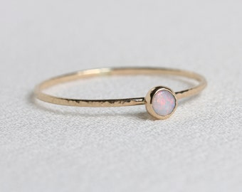 Tiny Delicate Natural AAA Opal 14k Ring - Solid 14k Gold Simple Stack Ring with a Genuine Fiery Australian White Opal - October Birthstone