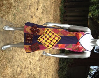 SALE! Tribal Mirrored Embroidery Dress from Rajasthan, India – Adjustable straps with a V-Neck – Medium -- Cotton base