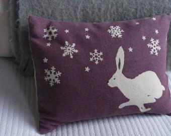 hand printed exclusive snowflake hare cushion