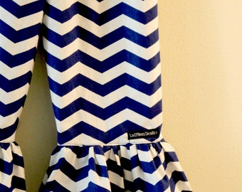 """Girls Ruffle Pants- Royal Blue and White Chevron - Made from Viola Lee Pattern """"Emma Lee"""""""