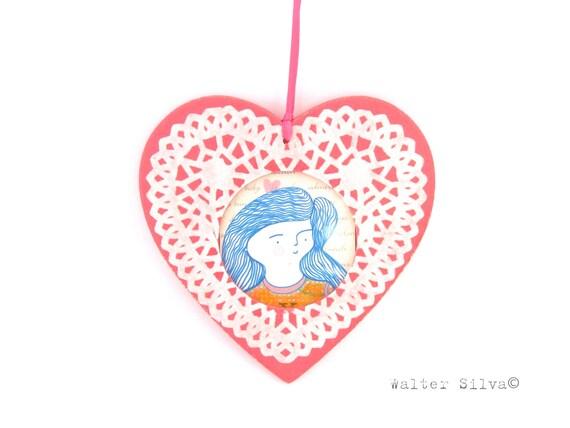 Doilyed Heart Photo Tree Ornament Frame - Christmas Tree Ornament - Decoupaged Doily Heart Photo Ornament