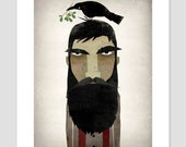 Lumberjack, Crow, and Mistletoe GRAPHIC ART Giclee print 8x10 inches SIGNED