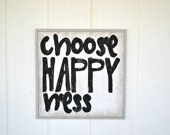 Cool Wood Sign - Framed - Choose HappyNess