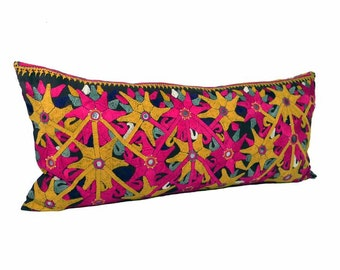 Vinatge Abstract Floral Embroidered Pillow - Hot Pink and Mustard - 14 x 30