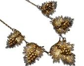 Portuguese Silver Gilt Filigree Grapevine Necklace