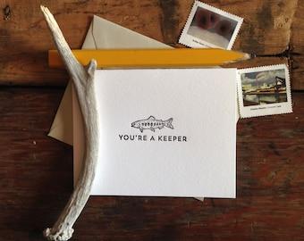LIT-203 You're a keeper letterpress card