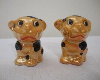 Vintage Spotted Dog Salt & Pepper Shakers - Japan