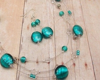 Necklace & Earring Set - Silver Lined Teal 3-Strand