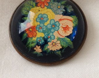 Glass Dome Flower Brooch Blue Yellow Green