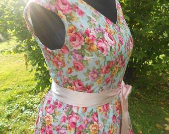 Bespoke English 1950s Rockabilly Vintage Inspired Spring Petticoat Dress - Flowers Retro Boho Chic