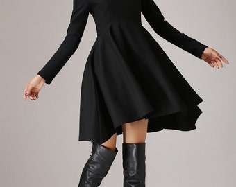 Cocktail Dress, Little Black Dress, Party Dress, Dresses,Womens Dresses, Dress, Black Cocktail Dress, Sexy Dress, Woman Dress, Wool Dress767