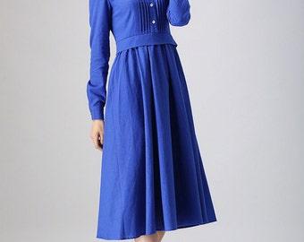 Blue dress woman Linen dress custom made long dress with pleated detail (798)