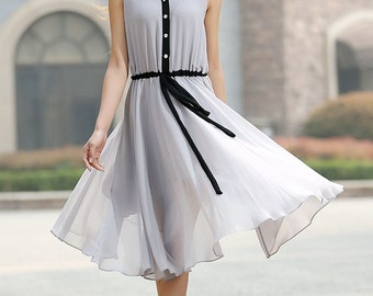 Gray dress woman chiffon dress custom made midi dress with black detail (917)