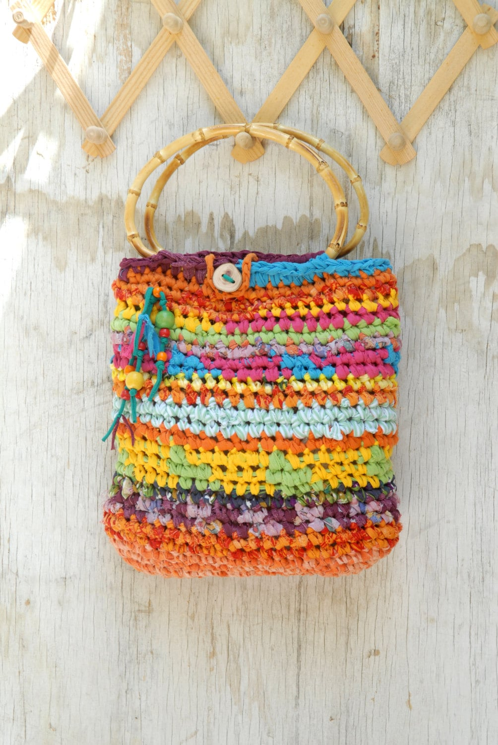 Crochet Bag Bamboo Handles Pattern : Colorful crocheted purse with bamboo handles Joyful summer