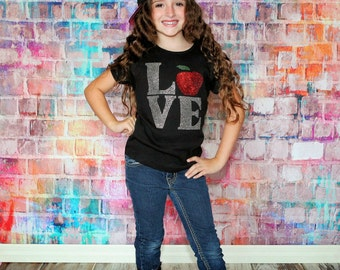 Girls Back to school apple shirt, girls apple rhinestone shirt, Womens apple shirt, fall apple shirt, rhinestone shirt
