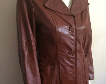 Vintage Women's 80's Jacket, Leather, Brown, Button Up, Fully Lined by Nordstrom