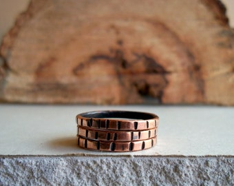 Notched Copper Stacking Rings - Salvaged Copper - Set of 3 - Fall Fashion - Eco - Stocking Stuffers - Unique Gifts