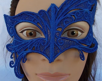 Abstract Embroidered blue Lace Mask
