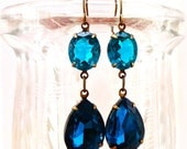 Swarovski Blue Zircon Earrings Teal Vintage Retro Summer Elegant Blue Wedding