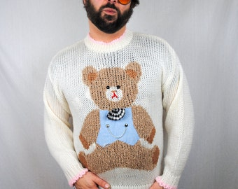 Vintage 80s Teddy Bear Sweater