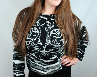 Vintage 1980s Wild Cat Knit Sweater