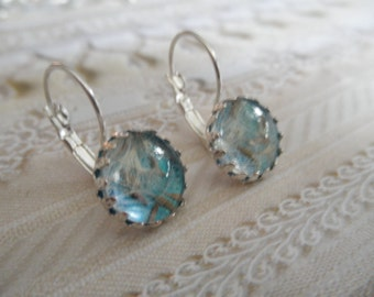 Dandelion Seeds Beneath Glass Atop Shimmering Turquoise Waters Crown Leverback Earrings-Ride The Wind-Symbolizes Happiness-Gifts Under 30