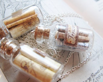 Pirate Treasure Map Necklace -  Miniature Maps in a Bottle -  Geocache, Scavenger Hunt - Bottleneck Jewelry
