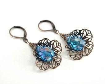 Sparkly Blue Flower Earrings Antiqued Copper Victorian Leverback Vibrant Blue Dangle Earrings